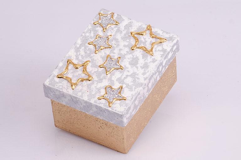 Geschenksbox sterne silber