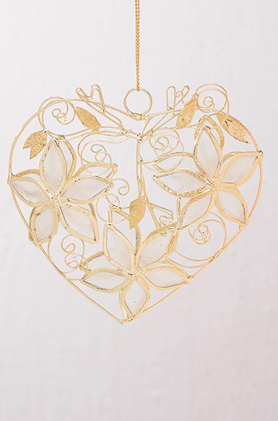 Perlmut Herz mit Blume